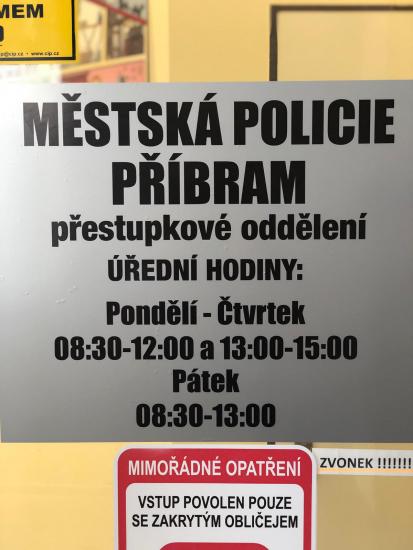 Změna úředních hodin pro vyřízení přestupků u MP Příbram